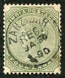 Zanzibar SGZ88 1882-90 India 4a Olive-green 30 Jan 90 with CDS (type Z6) Fine U