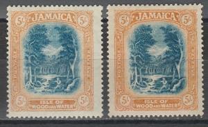 JAMAICA 1919 ISLE OF WOOD & WATER 5/- BOTH SHADES WMK MULTI CROWN CA