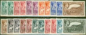 Montserrat 1938-48 Extended set of 22 SG101-112 All Perfs Fine Lightly Mtd Mint