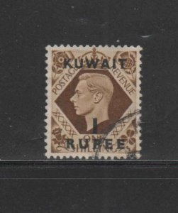 KUWAIT #79  1948  1r on 1sh   KING GEORGE VI SURCHARGED   F-VF  USED  e