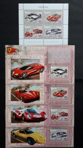 Ferrari cars - Congo 2006 - sheet + complete set of 4 ss perforated ** MNH