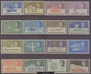 1963-69 British Antarctic Territory QE Definitive, set of 16, SG 1-15a, MH