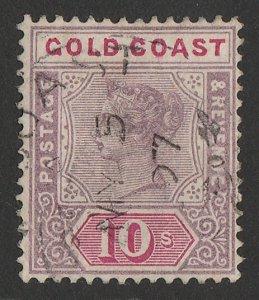 GOLD COAST 1889 QV 10/- dull mauve & carmine. SG 23a cat £325. Rare shade.