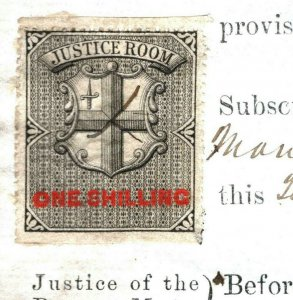 GB REVENUE India Railway *JUSTICE ROOM* 1s Signed LORD MAYOR London 1874 MS3769