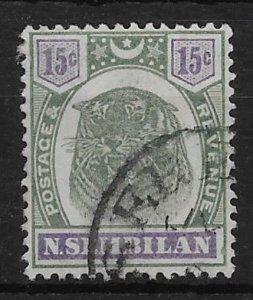 MALAYA NEGRI SEMBILAN SG11 1896 15c GREEN & VIOLET USED