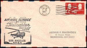 US FAM 84 Helicopter Los Angles Area 1947 First Flight Cover