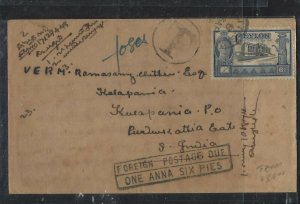 CEYLON COVER   (PP1108BB)1948 KGVI   6C  CONSTITUTION SHORT PAID TAXED TO INDIA