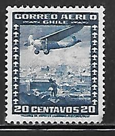 Chile C92: 20c Airplane over city, used, VF