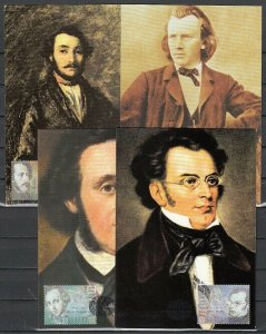 Bulgaria, Scott cat. 3988 a-d. Composers issue on 4 Max. Cards.