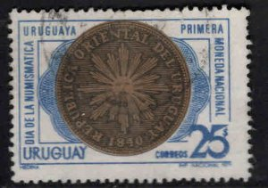 Uruguay Scott 793 Used 1971 First Coin stamp reverse