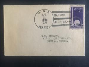 1939 US Navy Post Office Hankow  China Cover to USA USS Isabel