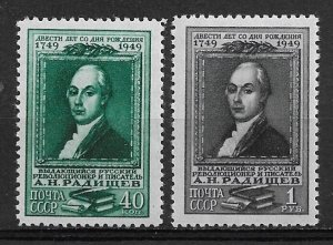 1949 Russia 1388-9 Writer Aleksandr N. Radishchev MNH