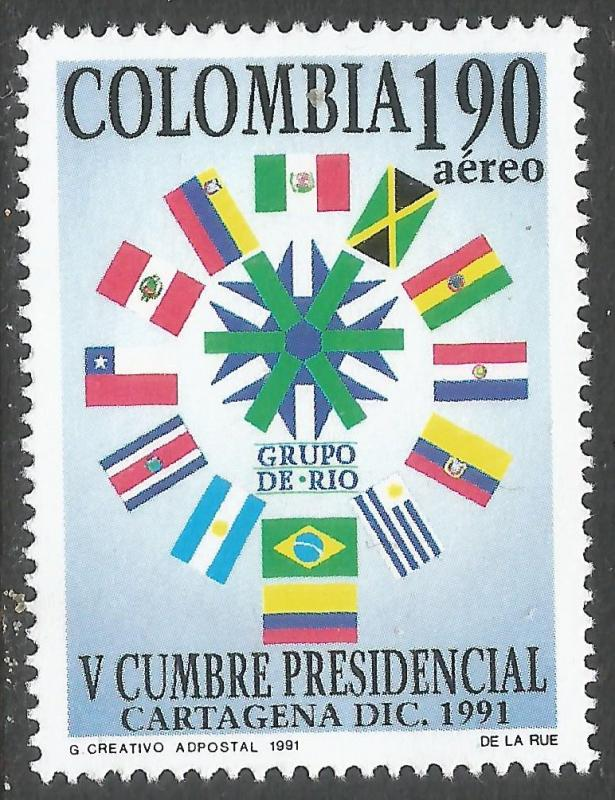 COLOMBIA C845 MNH FLAGS 139D
