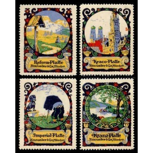 KRANSEDER & CIE Photographic Plate Adv Poster Stamps