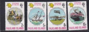 Falkland Islands # 231-234, UPU Centenial, NH, 1/2 Cat.