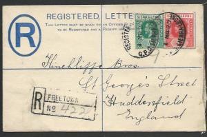 SIERRA LEONE 1920 GV 2d small registered envelope used to UK...............56809