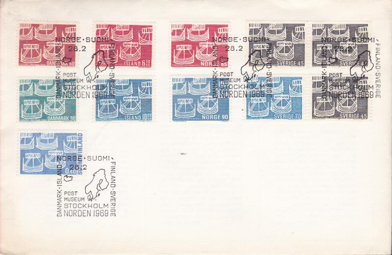 Sweden 1969 Norden Day (FDC) Ships Joint issue Cover all Five Member Nations