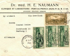 HAITI Cover Port-au-Prince  LEGATION Air Mail via USA NY Germany 1935 LS188