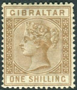 GIBRALTAR-1886-7 1/- Bistre.  A mounted mint example Sg 14