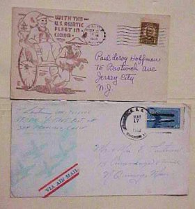 US COVER SHIP IN CHINA  USS SHANGRI-LA 1958 plus CHINA CACHET 1938 SEATTLE