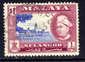 Selangor Malaya 1957 - 61 QE2 $1 Sultan used SG 125  ( K1376 )