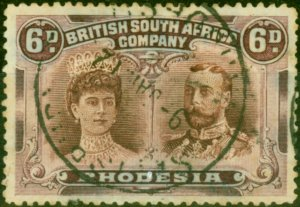 Rhodesia 1910 6d Red-Brown & Mauve SG144 Fine Used