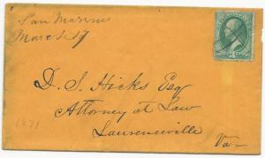 US Scott #147 on Cover San Marino, VA DPO 5 March 17, 1871