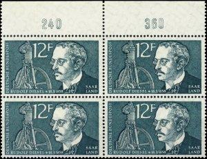 SARRE / SAARGEBIET - 1958 Mi.432 block of 4 with border numerals 240 & 360 **