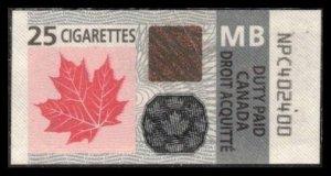 CANADA 2011 DUTY PAID TAX 25 CIGARETTES STAMP TOBACCO REVENUE MB MANITOBA