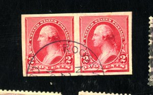 U.S. #220P5 USED XF INPERF PROOF PAIR ON STAMP PAPER  Cat $300