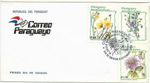 PARAGUAY 1999 FDC FLOWERS MEDICINAL PLANTS 3 VALUES ON FIRST DAY COVER