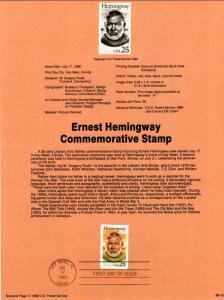 US SP857 Ernest Hemingway 2418 Souvenir Page FDC