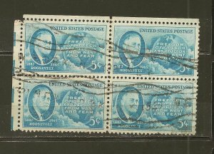 USA 933 Roosevelt Block of 4 Used