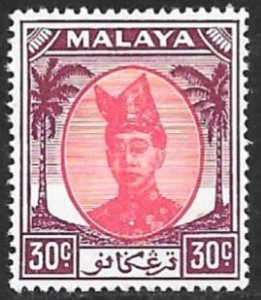 MALAYA TRENGGANU 1952-55 30c Sultan Ismail Nasiruddin Shah Issue Sc 72 MNH