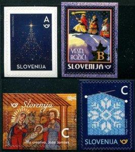HERRICKSTAMP NEW ISSUES SLOVENIA Sc.# 1248-49,1252-53 Christmas '18,New Year '19