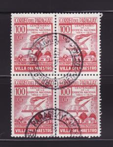 Paraguay C320 Block of 4 U Torch, Book, Houses (B)