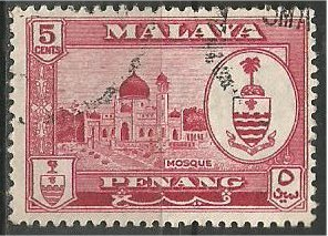 PENANG, 1960, used 5c, Crest  Scott 59
