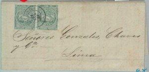 82869 -  ECUADOR - POSTAL HISTORY -  Yvert # 6 PAIR on COVER to LIMA 1866 - RARE