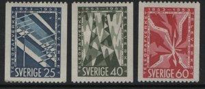 SWEDEN, 452-454, (3) SET,  HINGED, 1953, Telephone