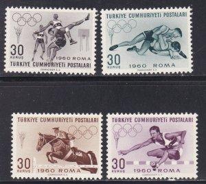 Turkey # 1489-1492, Rome Summer Olympicsl, NH, 1/3 Cat.