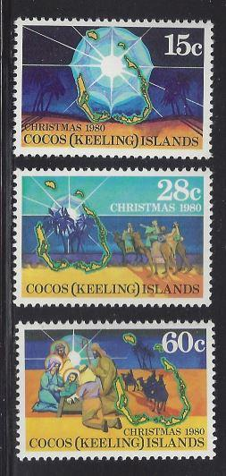 Cocos Islands 53 - 55 Christmas1980, MNH