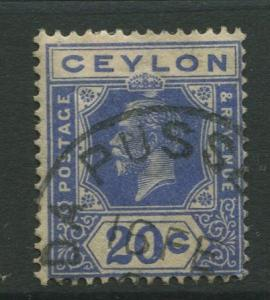 Ceylon #237  Used  1921  Single 20c Stamp