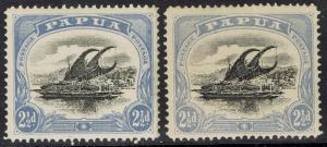 PAPUA 1907 LAKATOI SMALL PAPUA 21/2D BOTH SHADES WMK UPRIGHT PERF 12.5