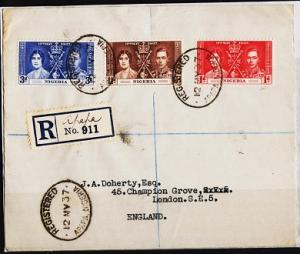 Nigeria. 1937 Cover. Coronation. S.G.46/48 Fine Used