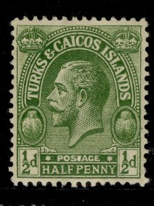 TURKS AND CAICOS ISLANDS GV SG163a, ½d bright green, M MINT.