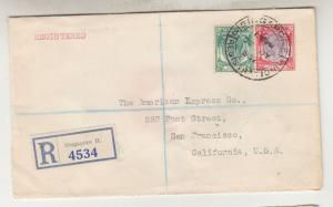 STRAITS SETTLEMENTS, 1937 Registered cover to USA, 2c., 25c.