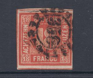 Bavaria Sc 14 used 1862 18kr vermilion red Numeral