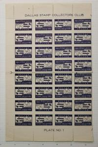 Dallas stamp collector club  half sheet plate 1 philatelic label poster seal DM