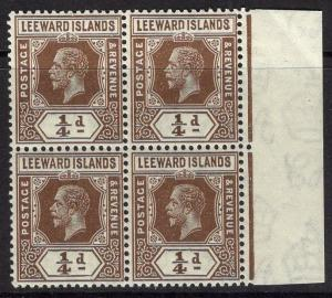 LEEWARD ISLANDS SG81 1931-2 ¼d BROWN REVERSION TO DIE I MNH BLOCK OF 4