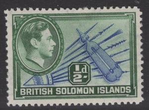 BRITISH SOLOMON IS. SG60 1939 ½d BLUE & BLUE-GREEN MTD MINT